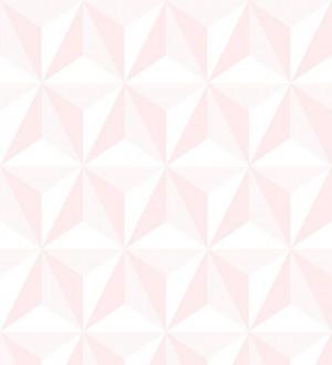 Papel pintado geométrico 3D rosa y blanco Iceland Sky 3D 677349