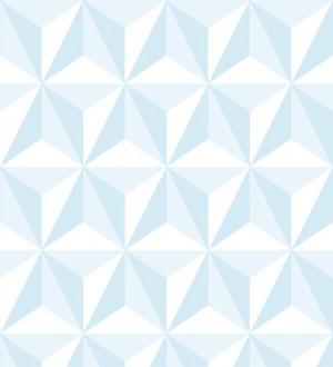 Papel pintado geométrico 3D azul y blanco Iceland Sky 3D 677350