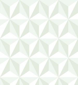 Papel pintado geométrico 3D verde y blanco Iceland Sky 3D 677351