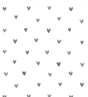 Papel pintado corazones grises fondo blanco Magic Hearts 677352