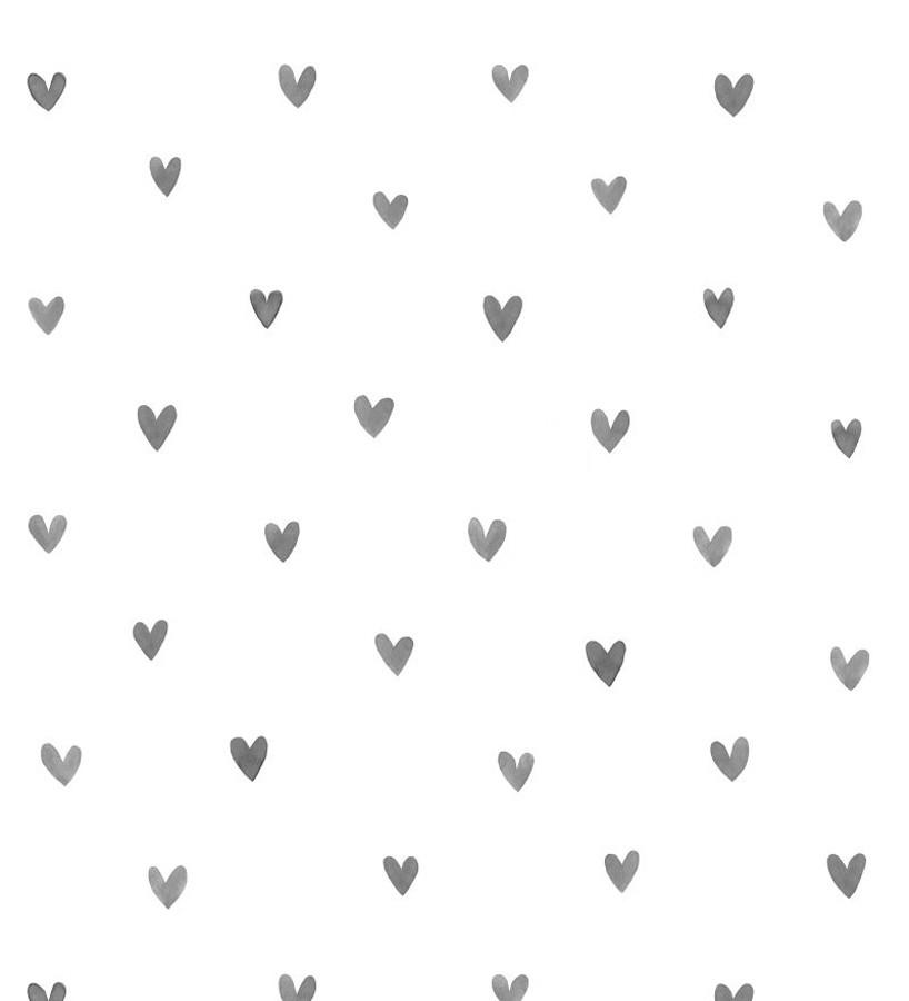 Papel pintado corazones grises fondo blanco Magic Hearts 677352