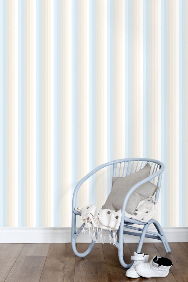 Papel pintado rayas estrechas tonos azules Happy Field 677363