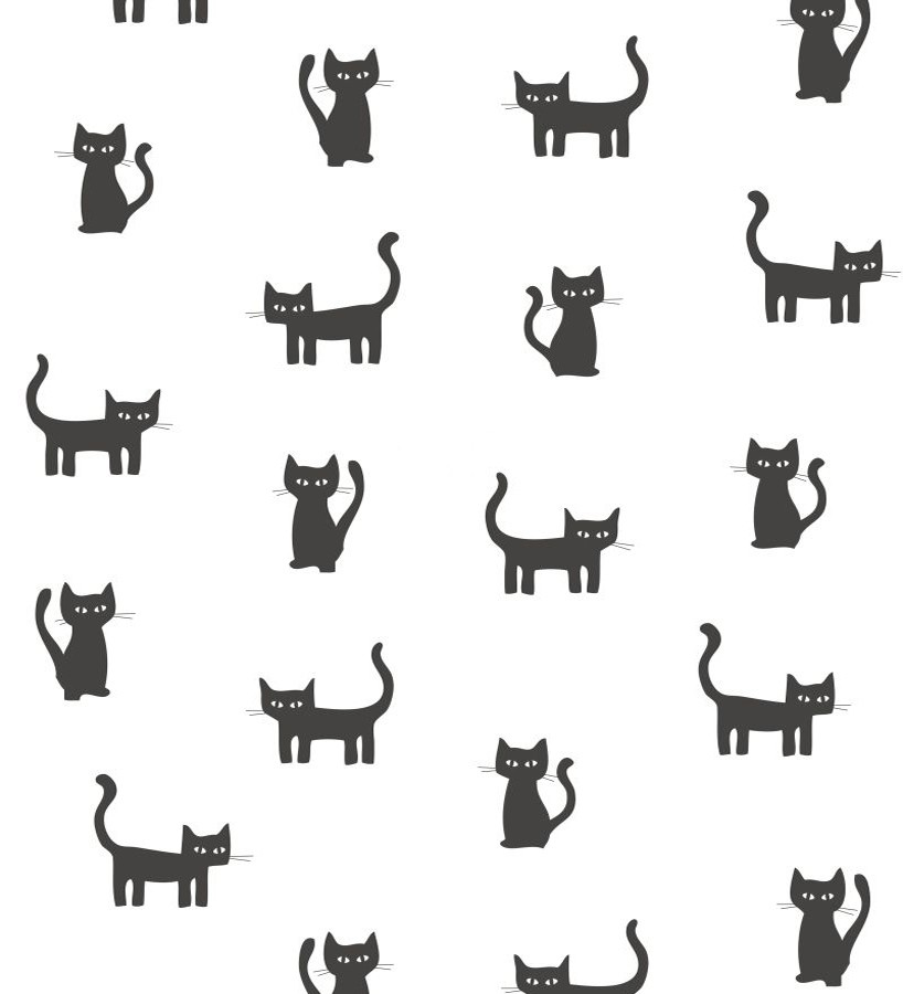 Papel pintado gatos negros fondo blanco Cats World 677366