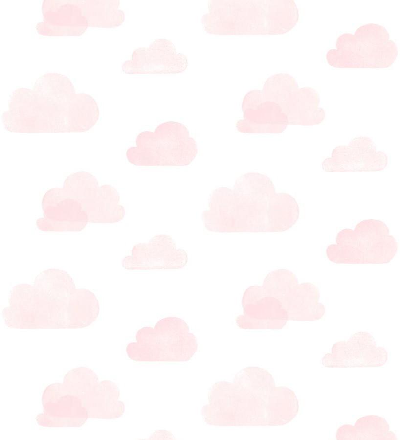 Papel pintado nubes infantiles rosas fondo blanco Dream Sky 677367