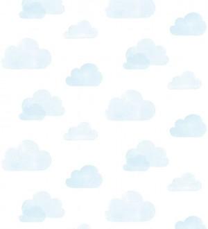 Papel pintado nubes infantiles celestes fondo blanco Dream Sky 677368