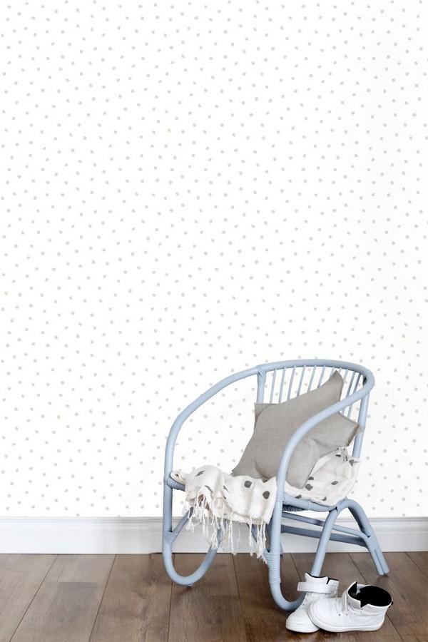 Papel pintado topitos desiguales estilo nórdico Nordic Fantasy Dots 677373