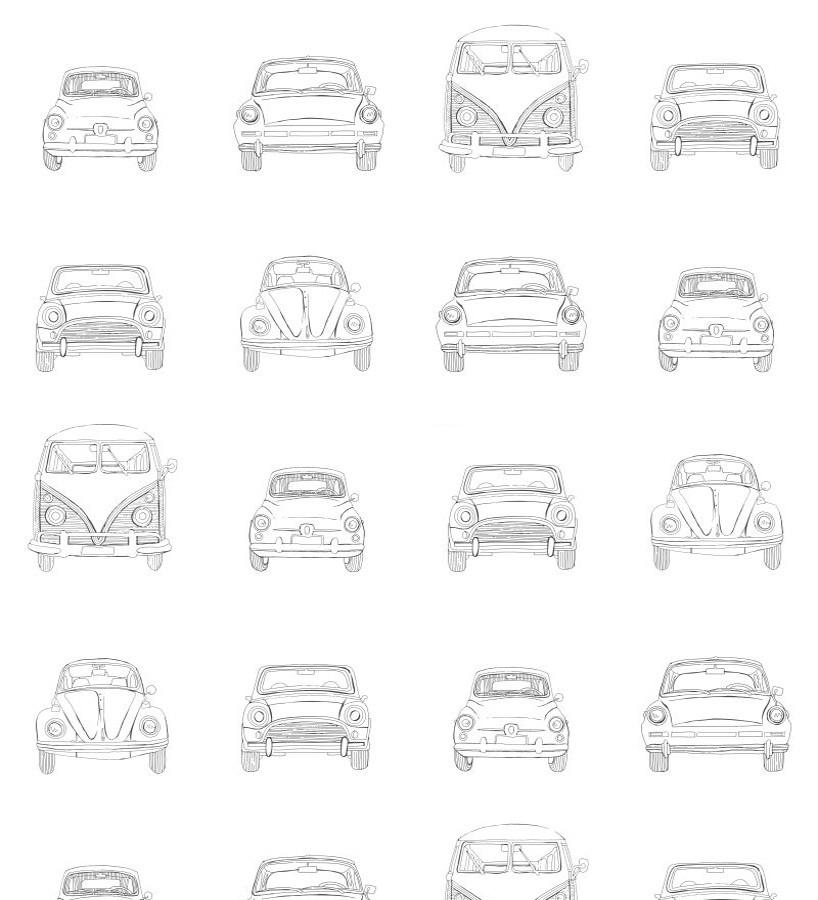 Papel pintado dibujo de coches antiguos Road Kings 677379