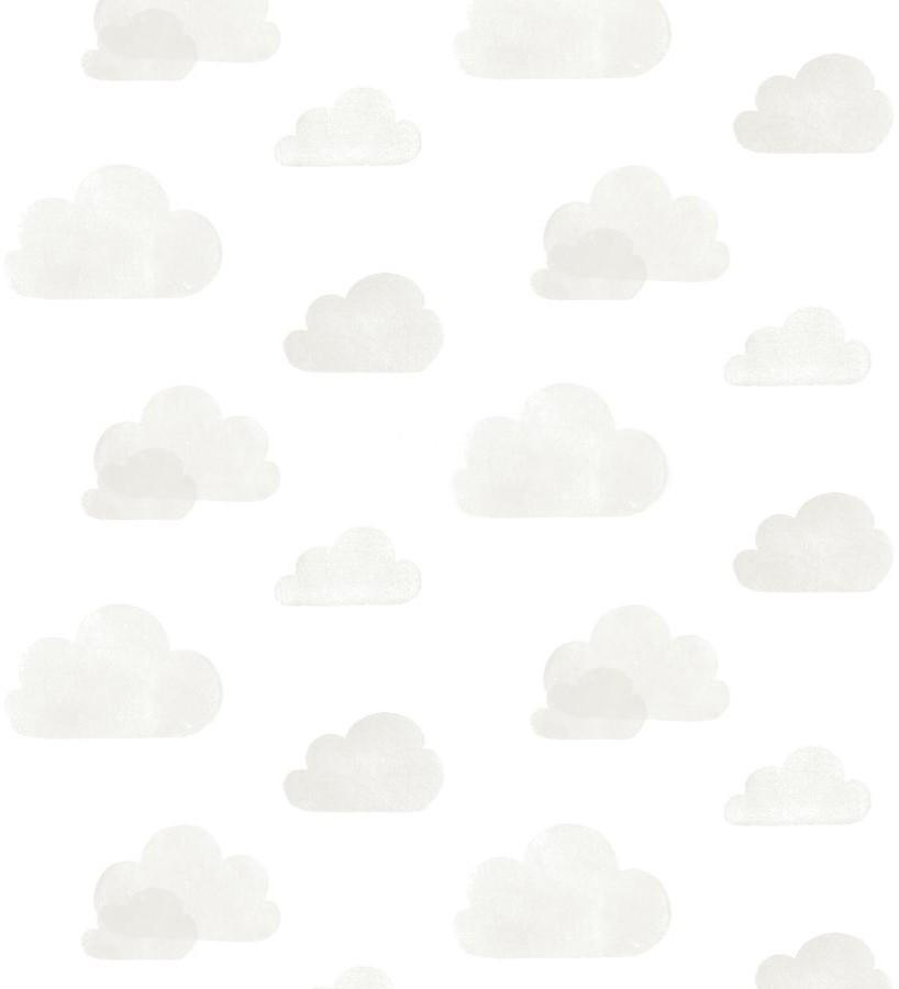 Papel pintado nubes infantiles grises fondo blanco Dream Sky 677383