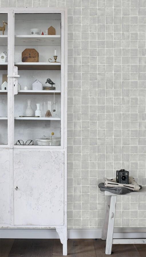 Papel pintado mosaico de azulejos pequeños desgastados Nordic Mosaic 677415