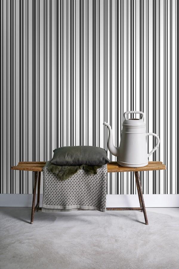 Papel pintado rayas desiguales blanco y negro Raya Dickens 679025