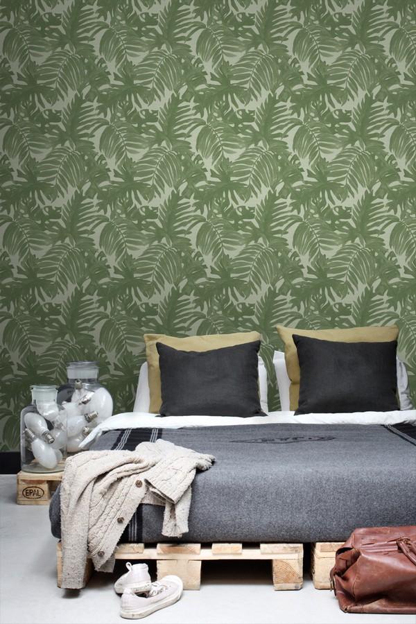 Papel pintado hojas de palmera estilo tropical Oasis Garden 679033