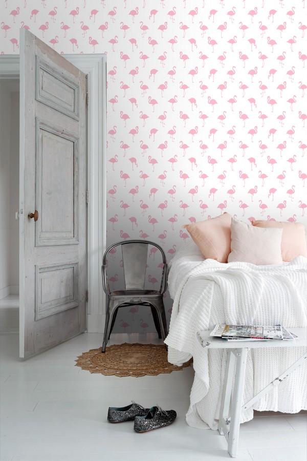 Papel pintado flamencos rosas fondo blanco Miss Flamingo 679035