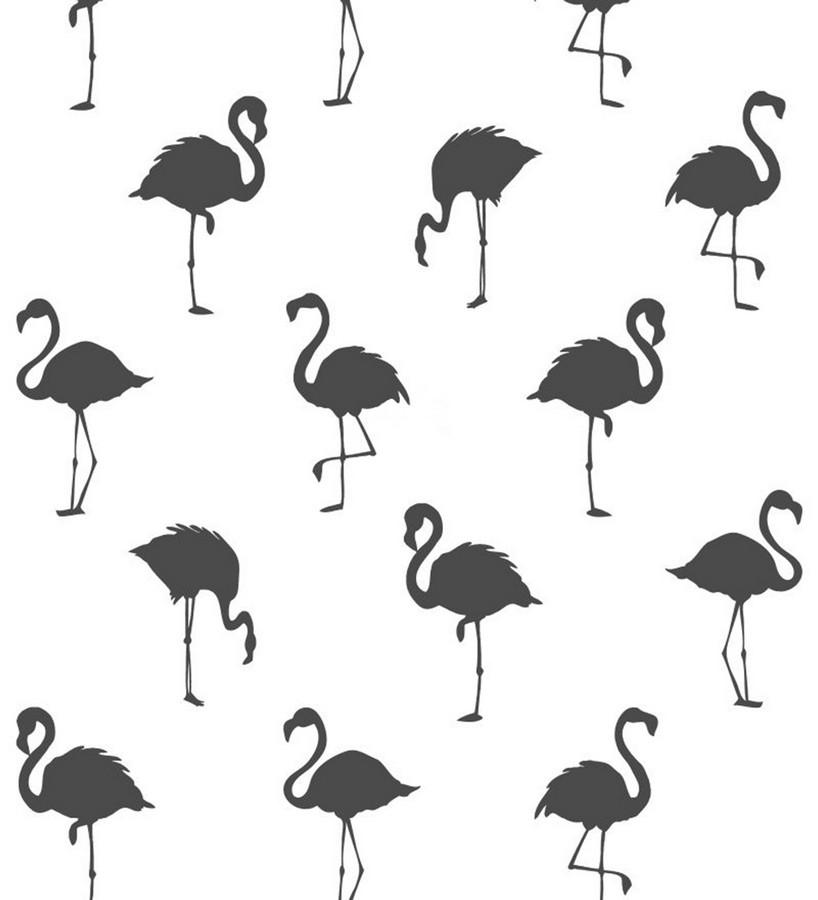 Papel pintado flamencos negros fondo blanco Miss Flamingo 679036