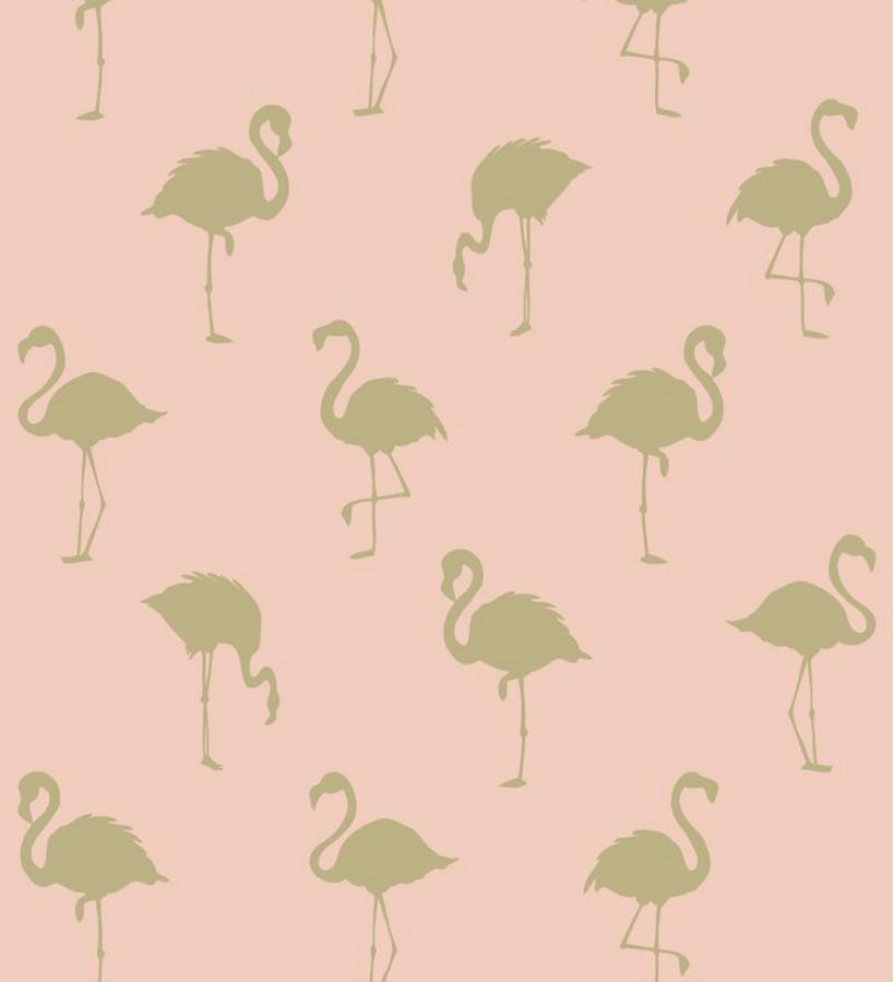 Papel pintado flamencos dorados fondo rosa Miss Flamingo 679037