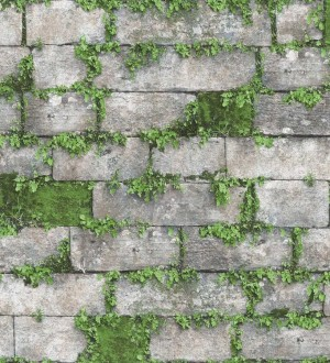 Papel pintado muro de piedra con musgo Brick Garden 125802