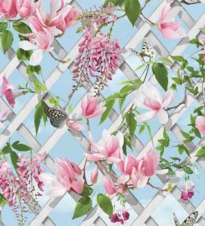 Papel pintado celosía de flores y mariposas Beverly Gardens 125816