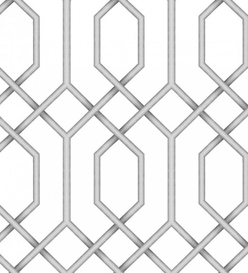 Papel pintado celosía geométrica gris estilo moderno Hexagon Modern 125830
