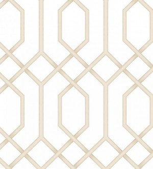 Papel pintado celosía geométrica beige estilo moderno Hexagon Modern 125831
