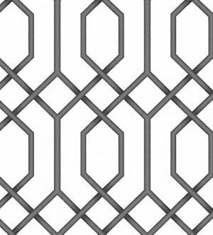 Papel pintado celosía negra geométrica estilo moderno Hexagon Modern 125832