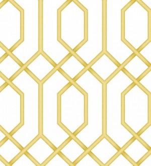 Papel pintado celosía amarilla geométrica estilo moderno Hexagon Modern 125834