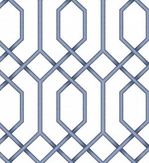 Papel pintado celosía azul geométrica estilo moderno Hexagon Modern 125835