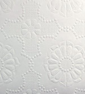 Papel pintado blanco de flores repintable texturizado de alto relieve Agar Texture 123155