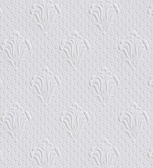 Papel pintado blanco repintable flor de lis texturizado de alto relieve Lis Texture 123160