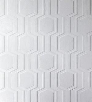 Papel pintado blanco geométrico repintable texturizado de alto relieve Keen Texture 123177
