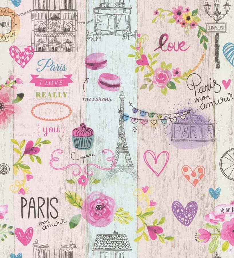 Papel pintado vintage con motivo de París Paris Mon Amour 123195