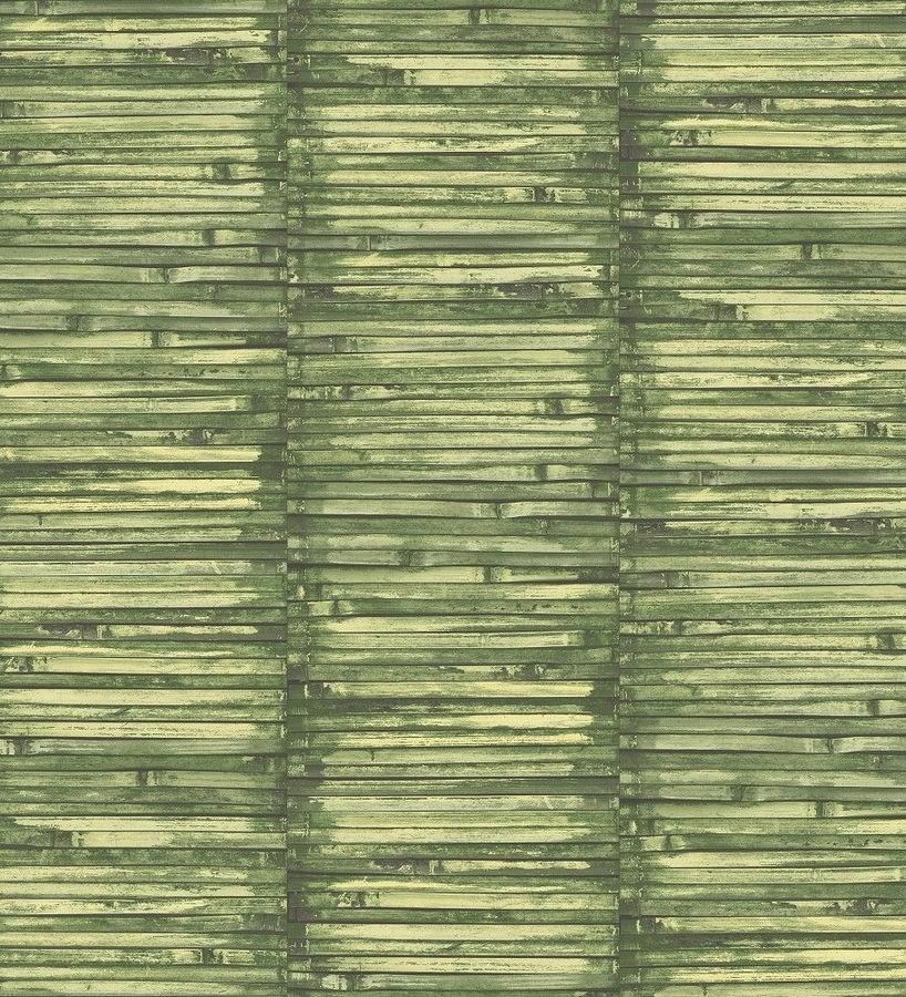 Papel pintado piezas estrechas de madera tonos verdes Coimbra Wood 124151