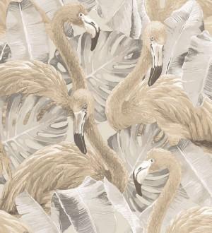 Papel pintado flamencos y hojas estilo tropical Flamingo Queen 124167