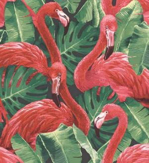 Papel pintado flamencos y hojas estilo tropical Flamingo Queen 124168