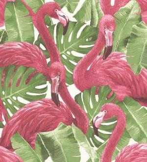 Papel pintado flamencos y hojas estilo tropical Flamingo Queen 124169