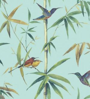Papel pintado tropical con pájaros y hojas fondo celeste Guinea Tropical 124174