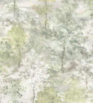 Papel pintado árboles de acuarela en tonos verdes Norman Forest 124193