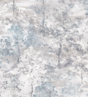 Papel pintado árboles de acuarela en tonos celestes y grises Norman Forest 124194
