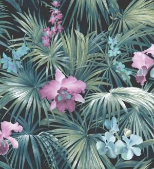 Papel pintado hojas de la jungla dominicana verde pálido y lila Dominican Jungle 124196