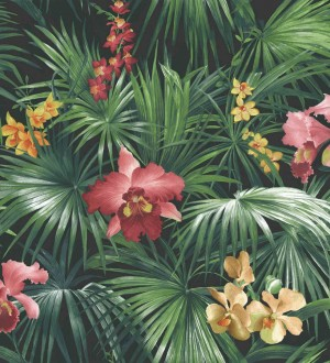 Papel pintado hojas de la jungla dominicana verde oscuro y rojo Dominican Jungle 124197