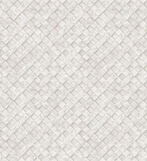 Papel pintado rejilla metálica en blanco roto Orson Wall 124383