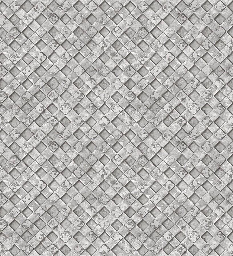Papel pintado rejilla metálica gris Orson Wall 124385