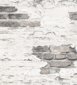Papel pintado muro de ladrillo blanco desgastado Morris Street 124399
