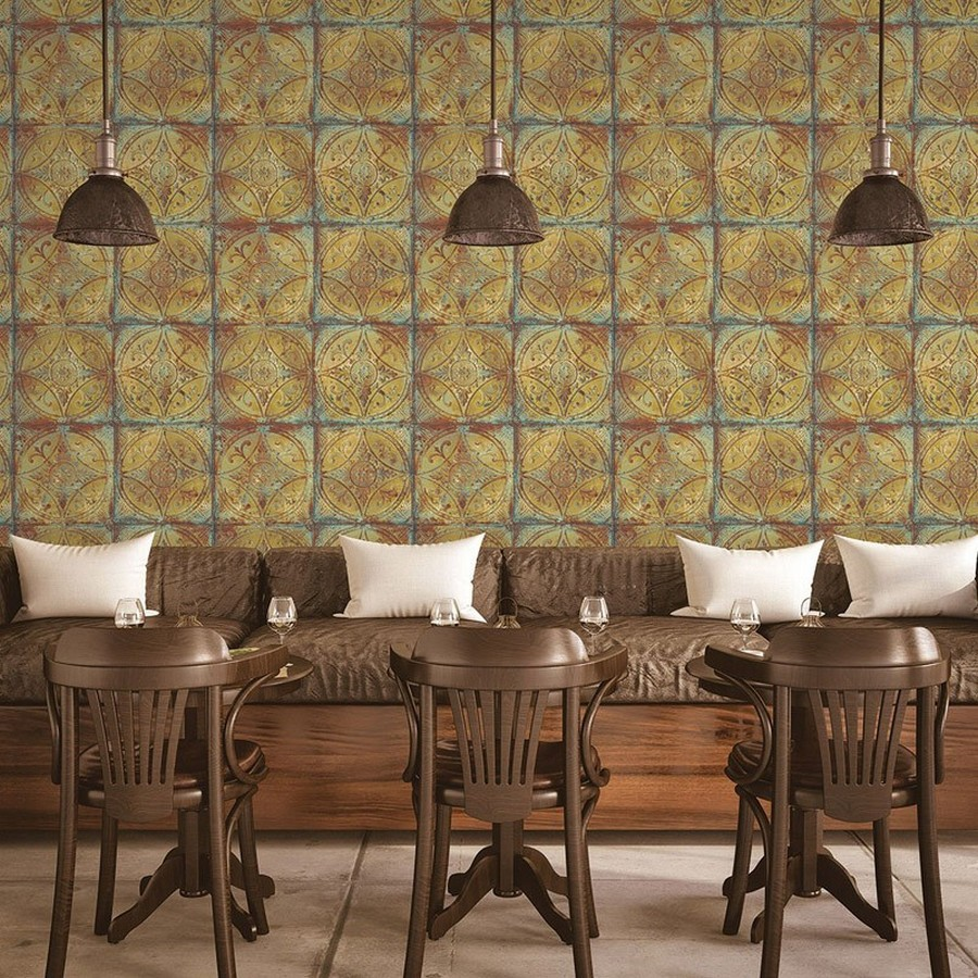 Papel pintado mosaico metálico tonos cobre Halim Mosaic 124421