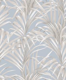 Papel pintado hojas de helecho con estilo fondo celeste pálido Líbano 231747