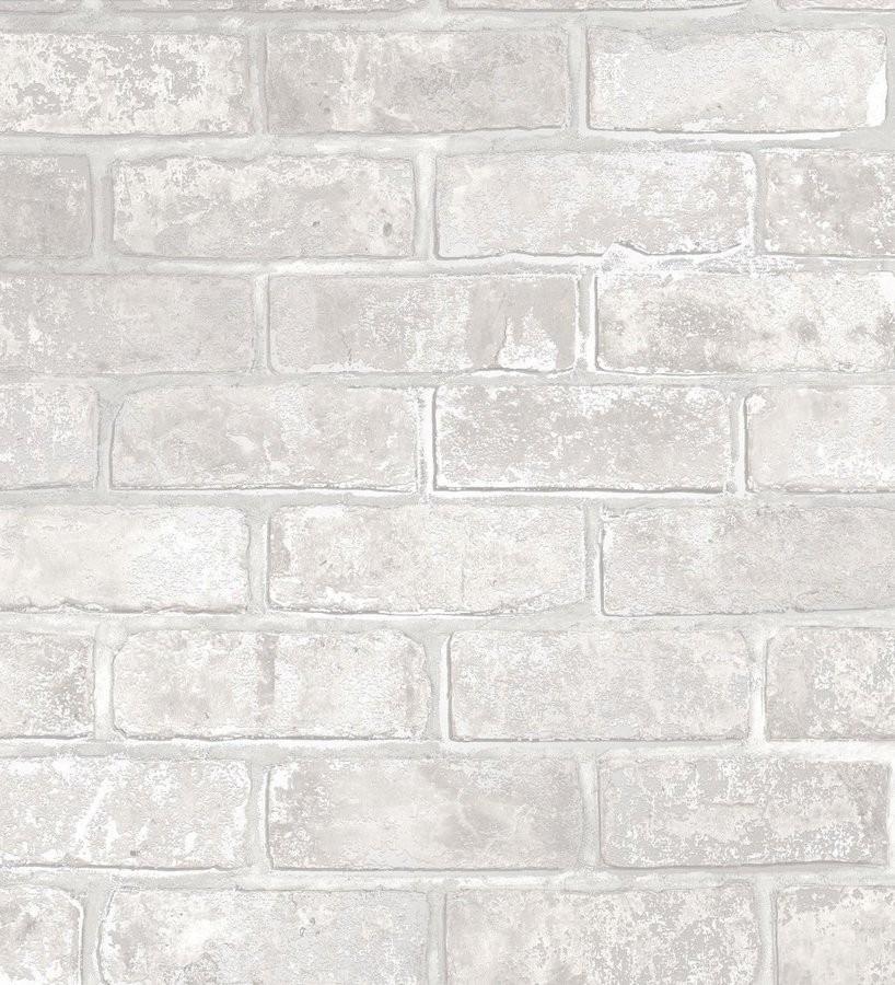 Papel pintado muro de ladrillo blanco con detalles en tonos metalizados Talbot Street 680102