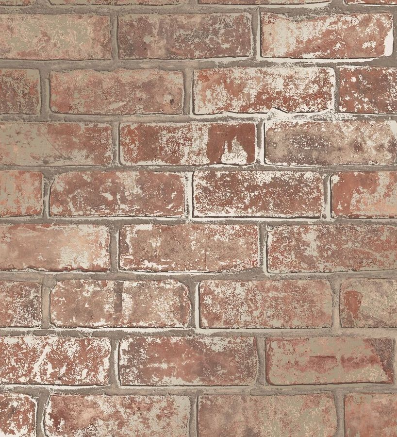Papel pintado muro de ladrillo marrón teja con detalles en tonos metalizados Talbot Street 680103
