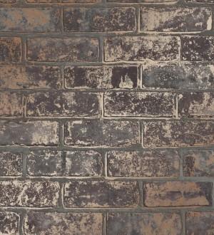 Papel pintado muro de ladrillo marrón oscuro con detalles en tonos metalizados Talbot Street 680104