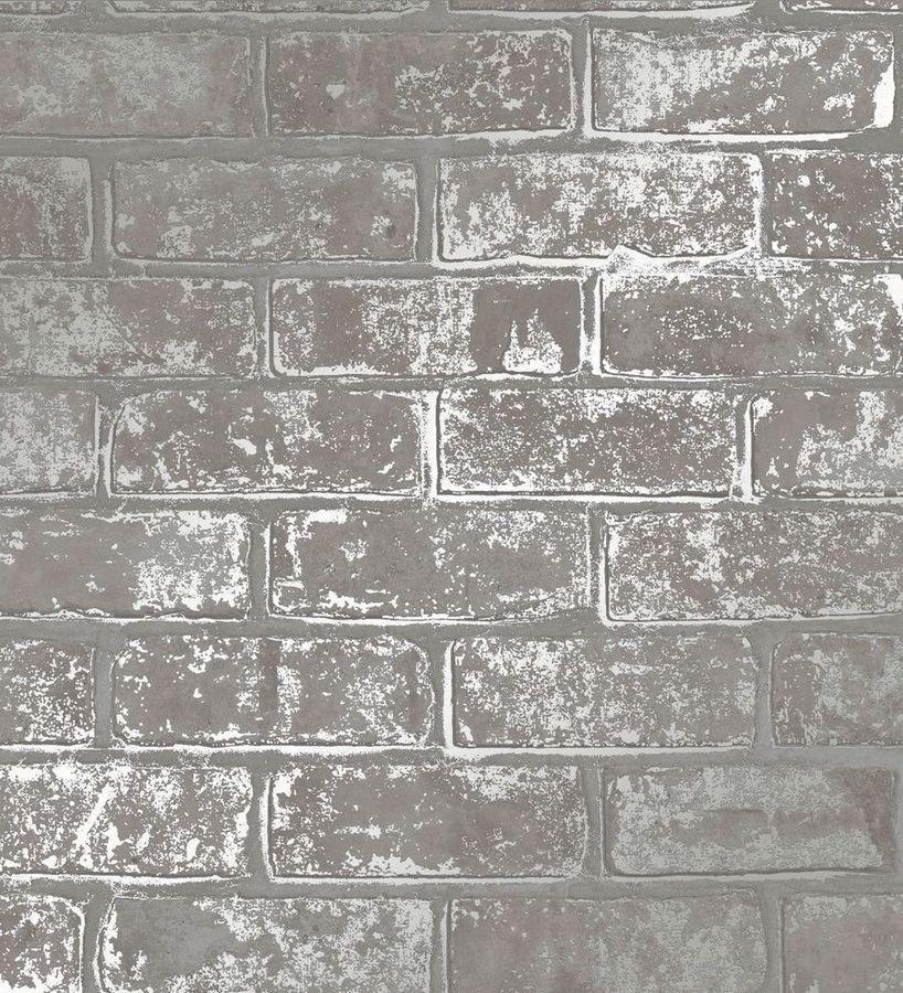 Papel pintado muro de ladrillo gris con detalles en tonos metalizados Talbot Street 680105