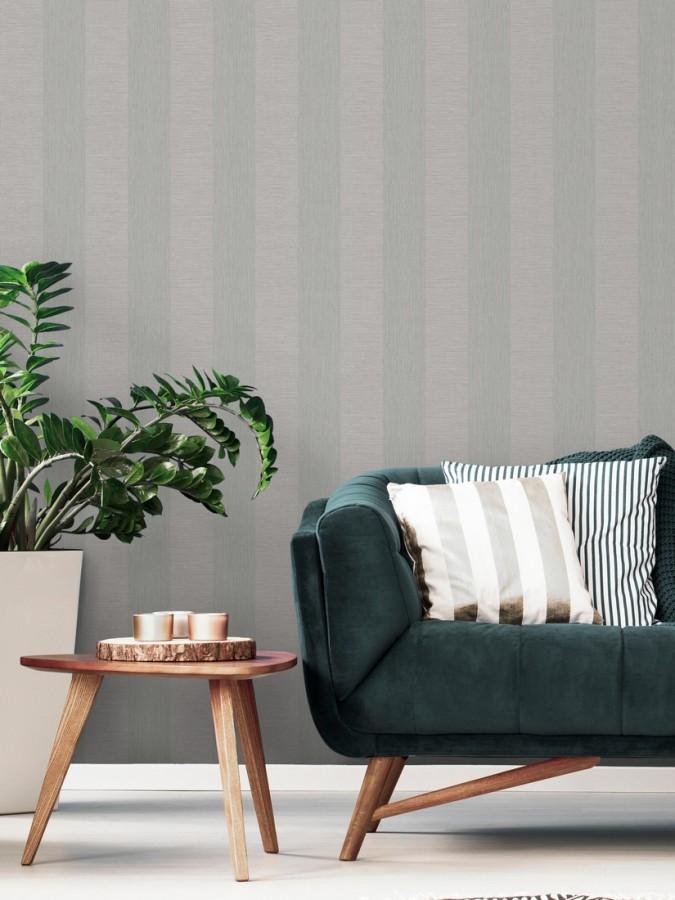 Papel pintado rayas tonos grises Raya Torino 679258