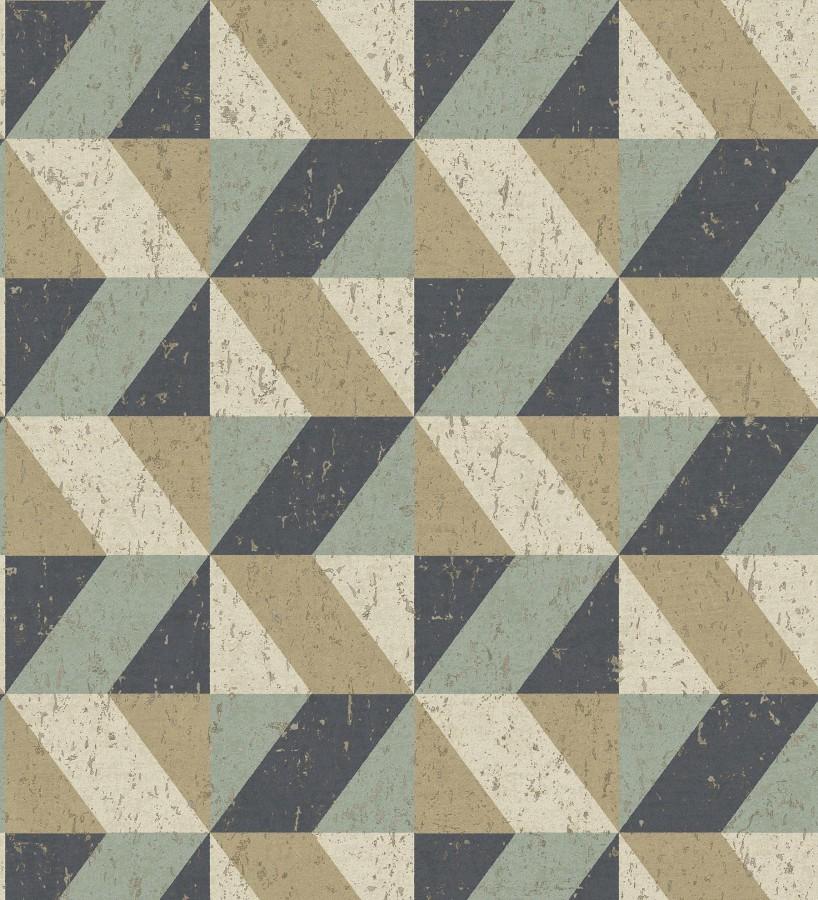 Papel pintado rombos geométricos zig zag dorado, verde y azul oscuro Kepler 679263