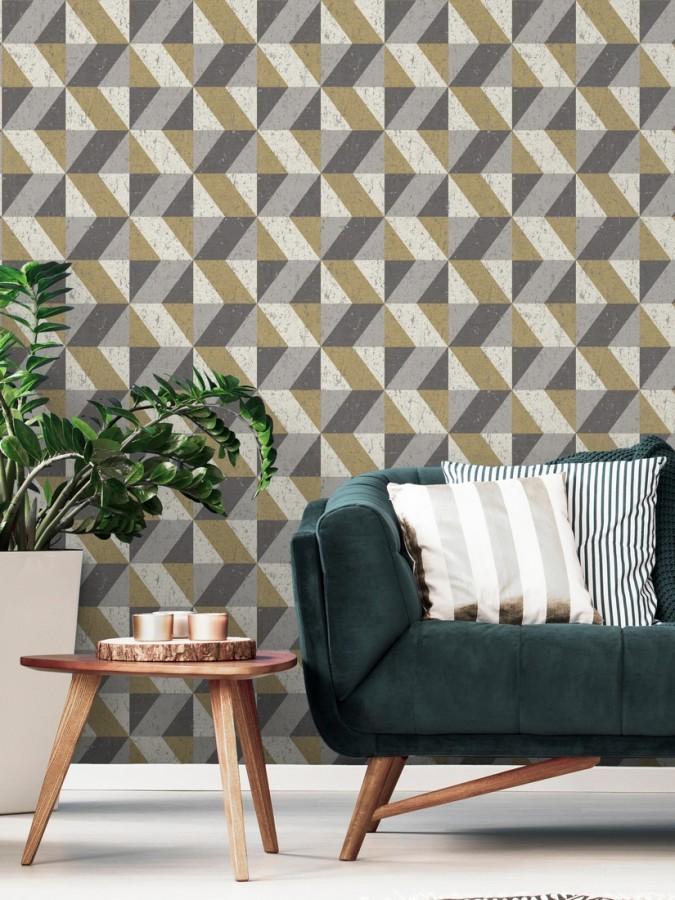 Papel pintado rombos geométricos zig zag dorado, gris y beige Kepler 679264